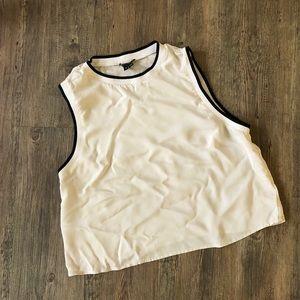 Tops - Theory Cream sleeveless cropped Silk Top